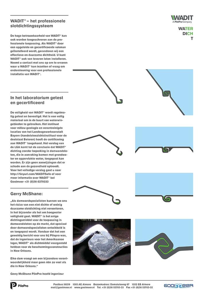 Slotafdichting Wadit stalen damwanden gooimeer